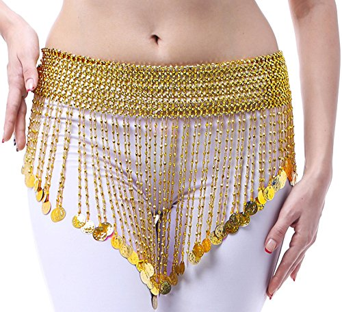 Fairycece Belly Dance Belt Dance Waist Chain Triangle Beads Coins Halloween Belt(gold, (Belly Dance Dancing Dancer Bra)