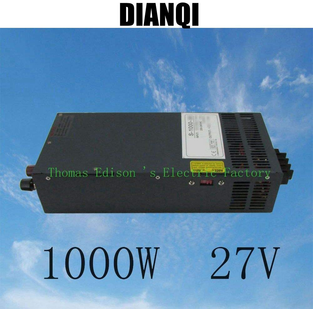 Output Voltage: 12V Utini s-1000-27 1000W 27V 37A Power Supply Adjustable Single Output Switching Power Supply AC to DC 110V or 220V Select by Switch