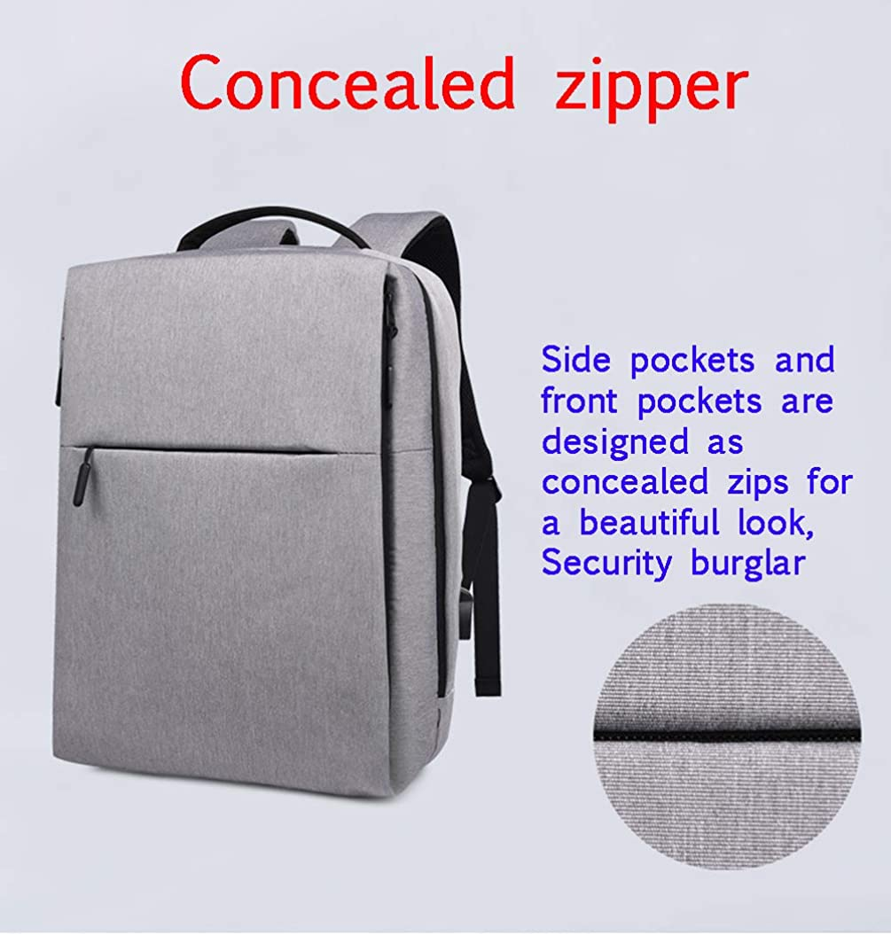 Anti-Theft Waterproof 14-Inch Laptop Backpack with USB Charging Port Hidden Zipper Business Travel Backpack