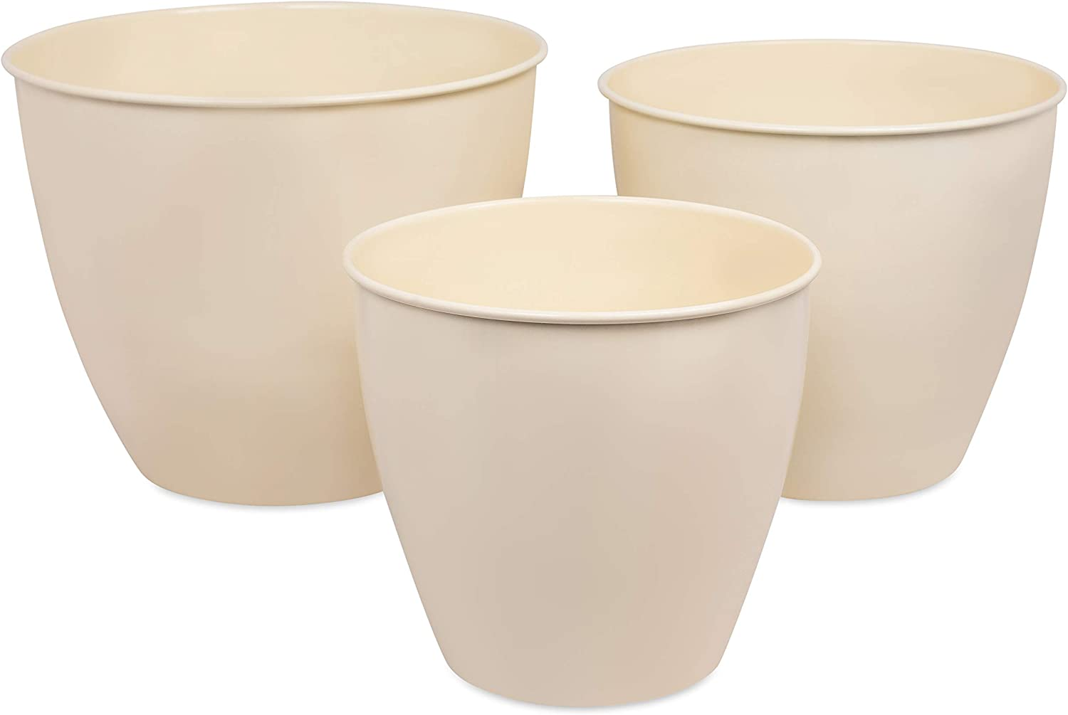 BirdRock Home Modern Planter Pot for Indoor or Outdoor Plant Flower - Flowers Plants Trees Porch Garden Pots - Rust and Weather Resistant (Set of 3 - Small, Medium, Large, Champagne)