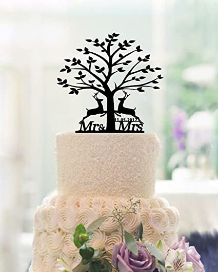 Amazon Christmas Tree Wedding Cake Toppers With Couples Deers Personalized Mr And Mrs Topper For Kitchen Dining
