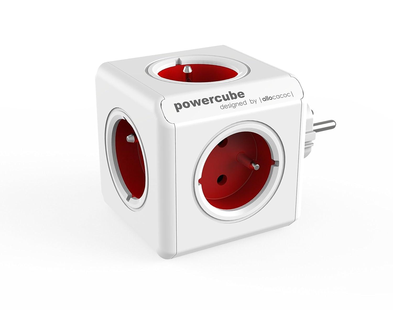 allocacoc PowerCube Original Rouge, 5 prises 230V, FR, Blanc et Rouge 2100RD/FRORPC