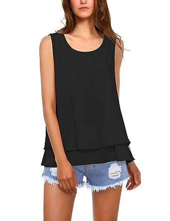 BaiShengGT - T-Shirt - Asymétrique - À Pois - sans Manche - Femme ... 4f2653b578ad