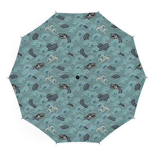 Compact Folding Travel Umbrella Windproof Waterproof,Japanese Wave,Auto Open Close Umbrella 45 Inch,Asian Style Pattern with Dragon Figures and Sea Waves Mythology Monster]()