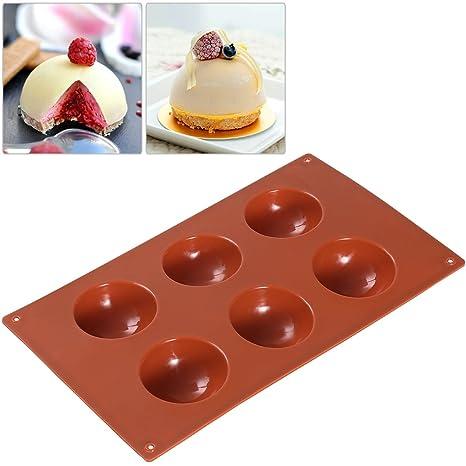BESTOMZ 6-Cavity Esfera Half Round molde del silicón para postres de chocolate bricolaje helado