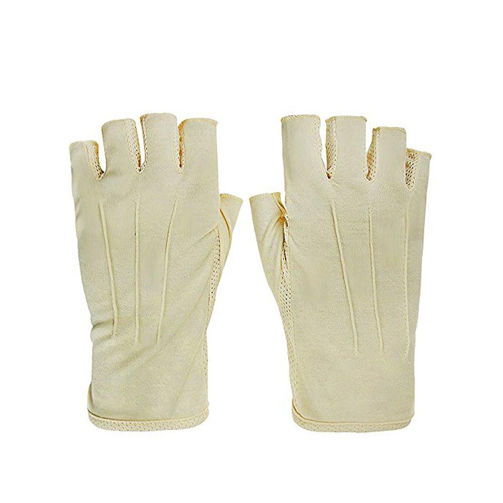 Sun Protection Gloves Fingerless Breathable Sunblock Gloves UV Protection(Beige)