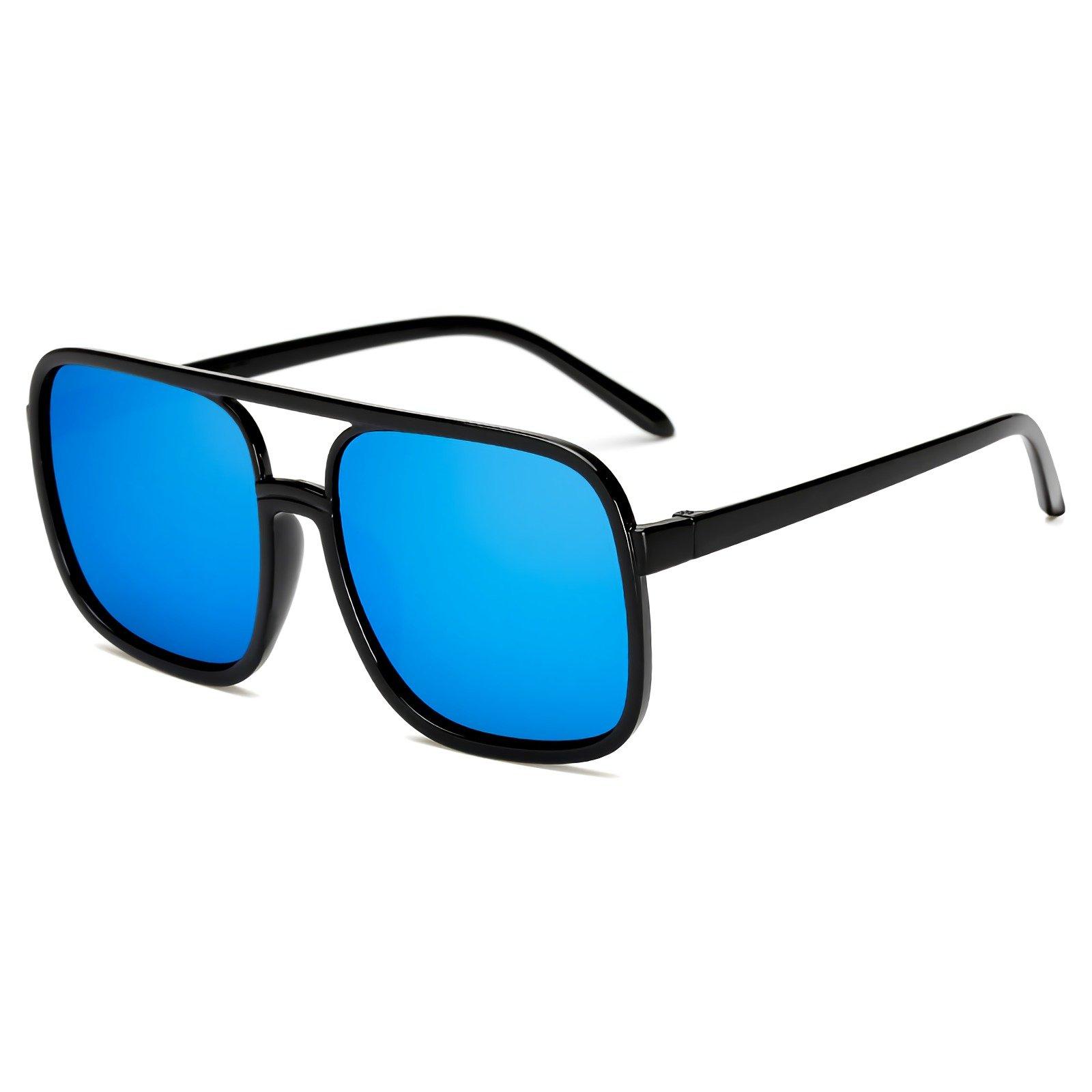 Super Oversized Square Frame Blue Lens Fashion Glasses Eyeglasses
