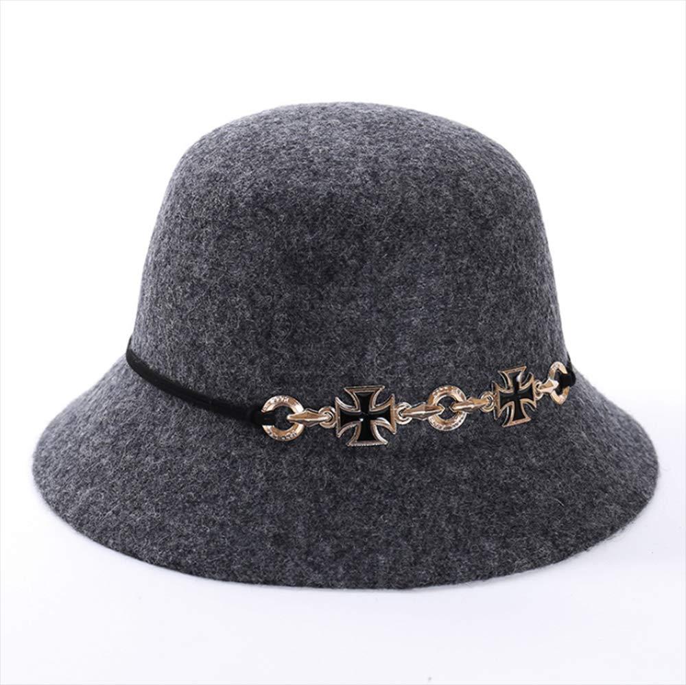 Autumn Winter Warm Wool Fleece Hat Caps Dome Hat Female Section Cross Felt Hat Ladies Fashion Hat,A