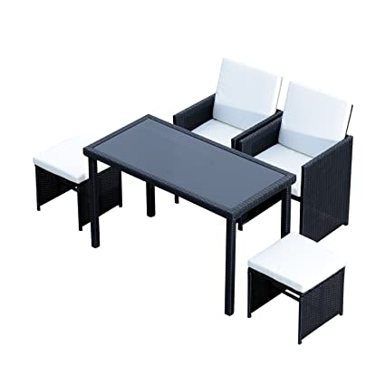 space saving patio furniture. Outsunny 5pc Rattan Wicker Dining Set Outdoor Sofa Table Ottoman Space Saving Patio Furniture With