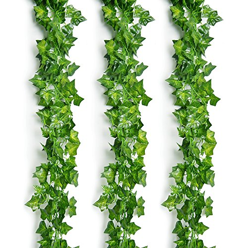 Outus 12 Stück Efeugirlande Künstlich Hängende Rebe für Hochzeit Party Garten Wanddekoration