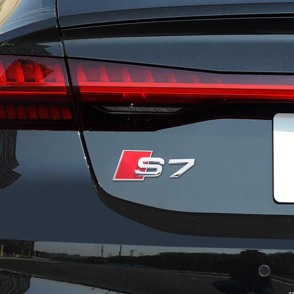 3D Decal Nameplate Car Decal Logo Sticker Replacement for Audi A7 Accessories Silver HANBAO S7 Badge Rear Emblems