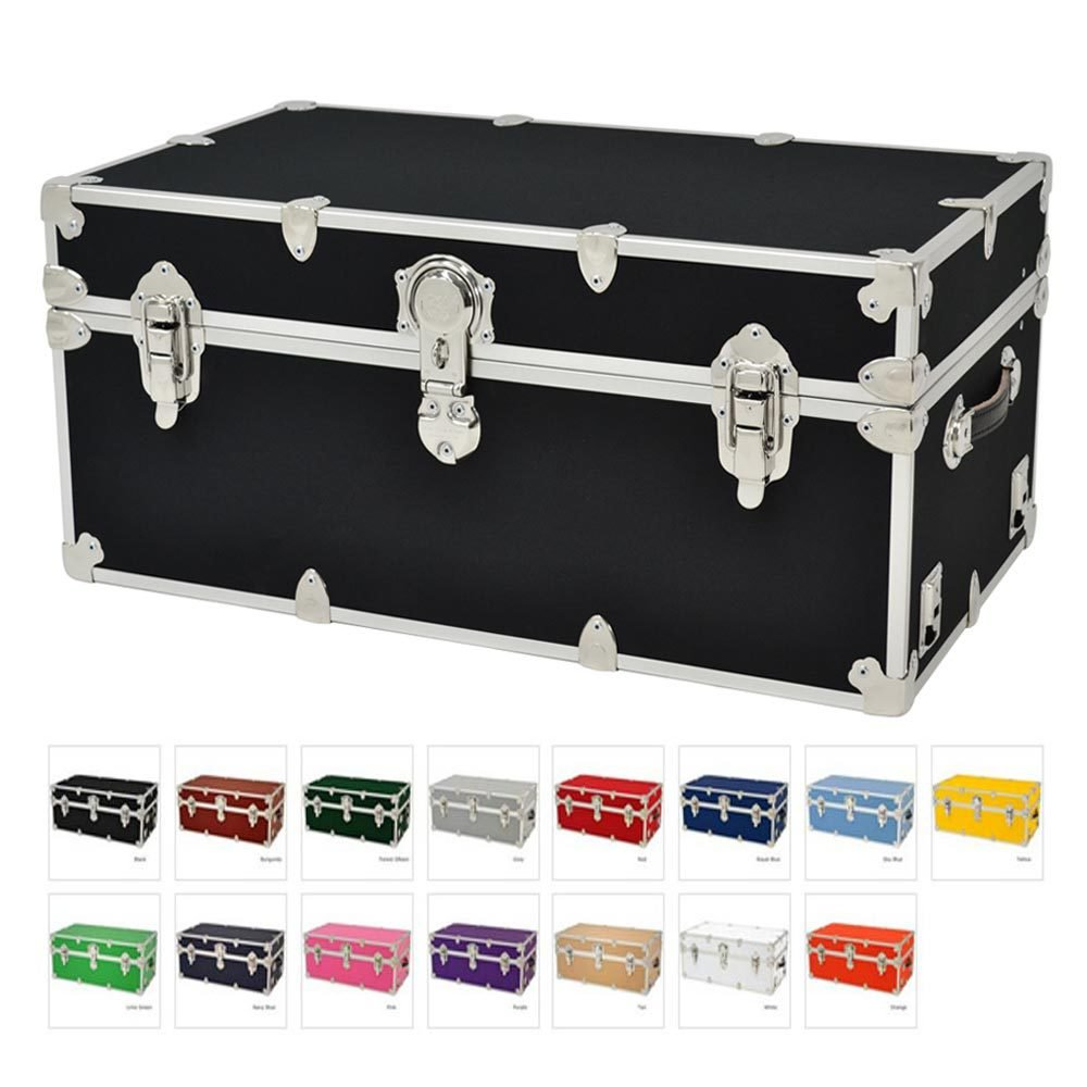 College Trunks with Wheels - Rhino Sticker Dorm Trunk - X-Large - 34'' x 20'' x 15'' - Black