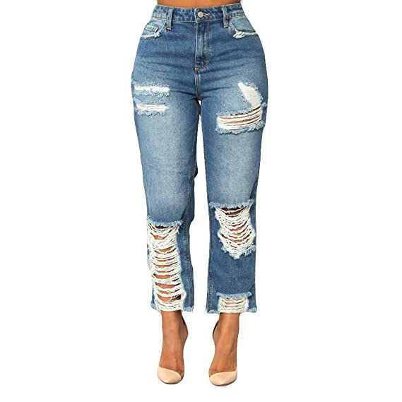 Womens skinny holes Distressed jeans JIN+D High Waist casual denim pants