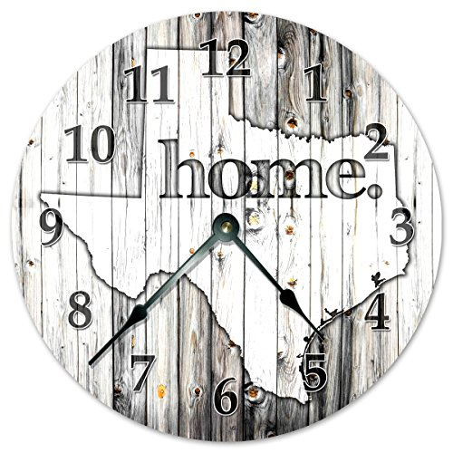 Sugar Vine Art Texas State Home Clock Huge 15.5 to 16 Wall Clock Black and White Rustic Clock
