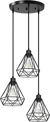 Farmhouse Black Pendant Lighting 3-Light Industrial Modern Hanging Lighting Fixture