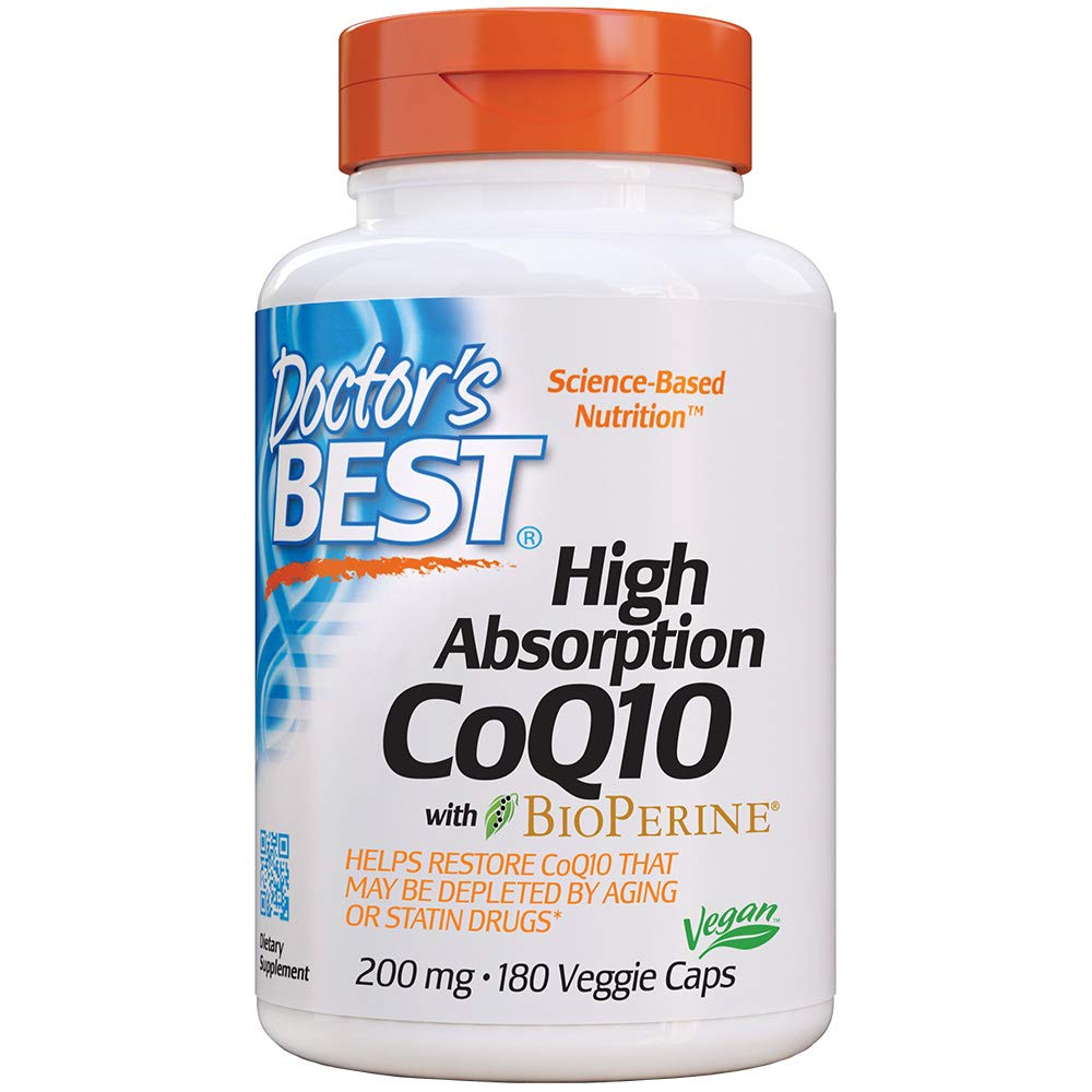 Doctor's Best High Absorption CoQ10 with BioPerine, Non-GMO, Gluten Free, Naturally Fermented, Vegan, Soy Free, Heart Health and Energy Production, 200 mg, 180 Veggie Caps by Doctor's Best