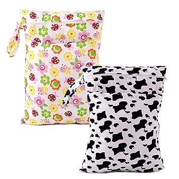 afae9c22f7970d YGSAT 2 Pack Waterproof Wet Nappy Carry Bags Baby Waterproof Zipper Bag  Reusable Cloth Diaper Bag