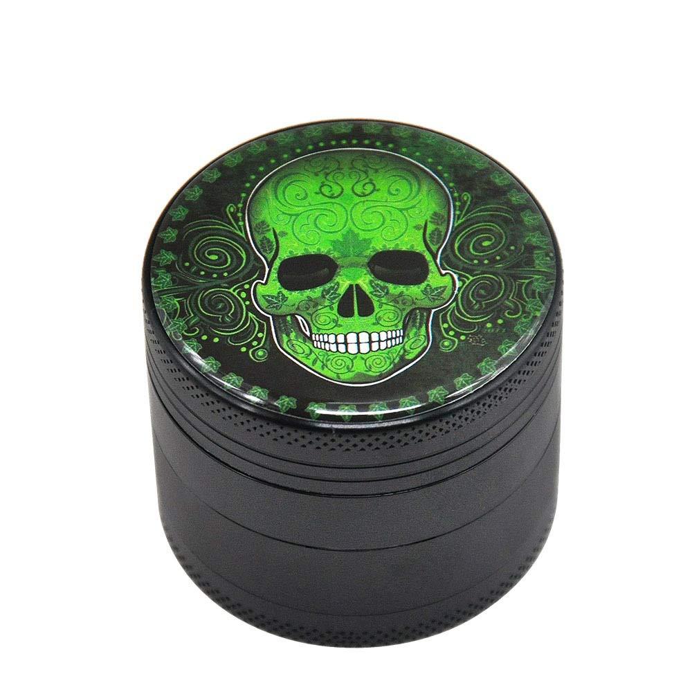 Yzyamz Herb Grinder Bench Grinder 50Mm Skull Pattern Metal Smoker 4 Strati di Lega di Alluminio Color : A Manual Grinding Machine 2 Pollici