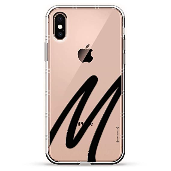 Black Initial M1 Luxendary Air Series Clear Silicone Case With 3d Printed Design And Air Pocket Cushion Bumper For Iphone X Xs