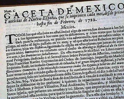 RARE Mexico Latin America OLDEST 1722 Spanish Newspaper at