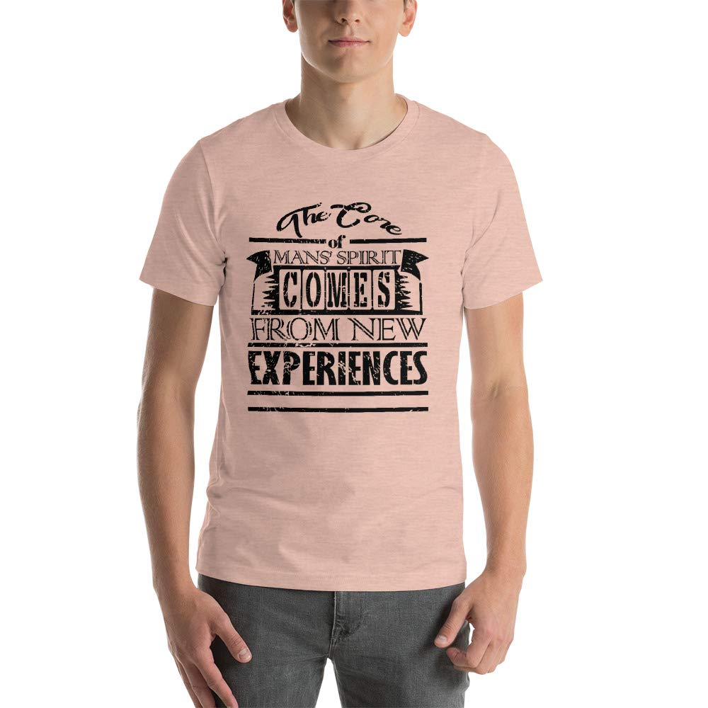 The Core of Mans Spirit Comes from New Experiences Mens Ultra 100/% Cotton Short Sleeve T-Shirt 3001