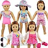 Miunana 5 Sets Swimsuits Lots Bathing Clothes Outfits + Sunglasses + Shoes + Hats For 16-18 Inch American Girl Dolls And Other Dolls