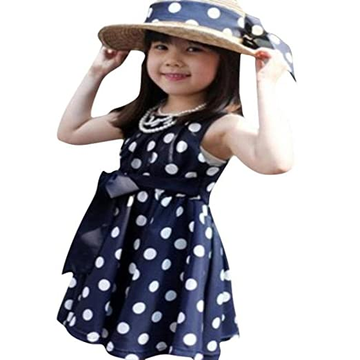 1cc4e10293 Lurryly Newborn Baby Girls Polka Dot Dresses Summer Dress Kids Sundress  Clothes Outfit