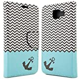 Galaxy A5 Wallet Case (2016) A510, CoverON® [CarryAll Series] Flip Folio Credit Card Slot Pouch Cover Stand + Strap Case For Samsung Galaxy A5 (2016) A510 - Blue Chevron Anchor