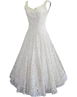 HotDresses Lace Short Wedding Dress a Line Sleeveless Bridal Gowns for Beach Wedding Tea Length