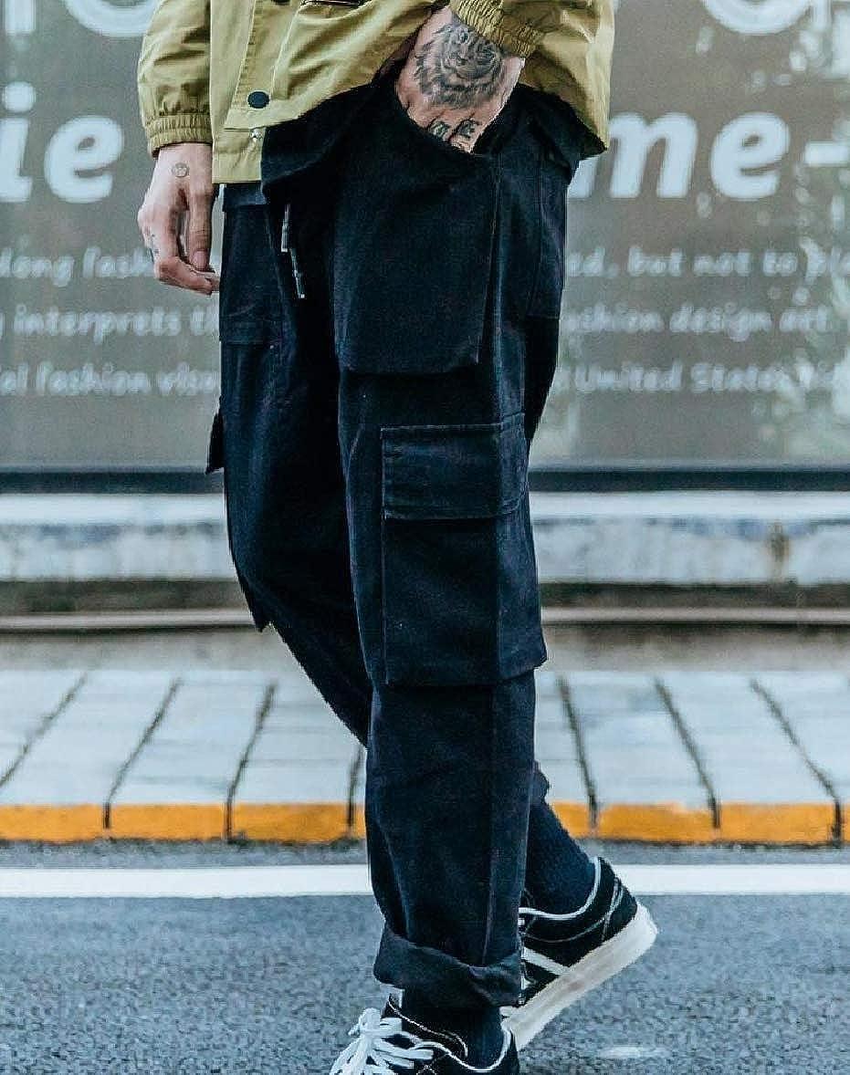 Zimaes-Men Solid-Colored Multi-Pockets Straight Hip Hop Combat Work Pants