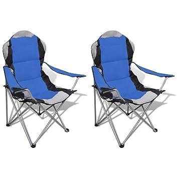 vidaXL Conjunto de 2 Sillas Azules Plegables XXL con Bolsa Mueble Campamento Camping