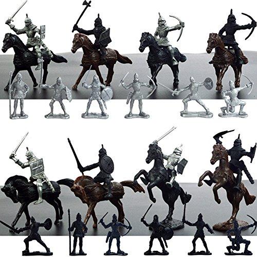 Liebye ミニ騎兵 騎士ホースおもちゃ スタティック古代兵士模型玩具装飾品(12兵士+ 8馬+騎兵)