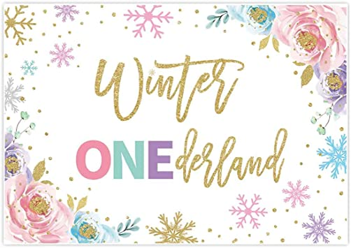 Allenjoy 7x5ft Winter Onederland Backdrop Newborn Baby Girls 1st Christmas Birthday Colorful Pink Gold Glitter Snowflake Background Unicorn Baby Shower Family Gathering Decorations Favors Supplies