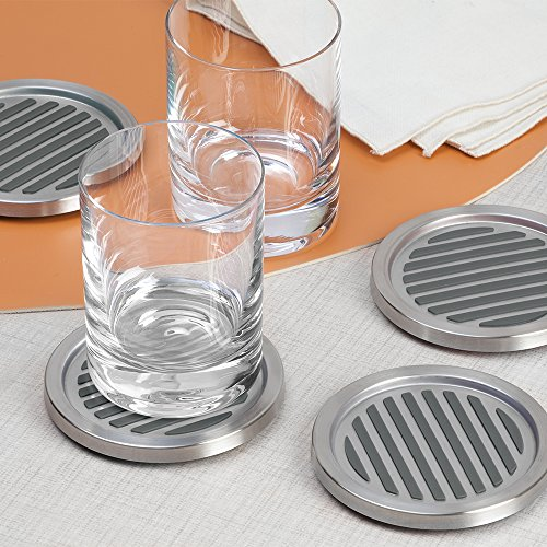 Large Product Image of InterDesign Forma Coasters, Set of 16, Brushed Stainless Steel/Black