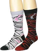 Men's Casual Fun Jungle Cat Print Combo Crew Socks Grey and Black 2-Pack
