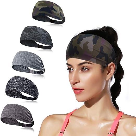 Women Yoga Headbands Moisture Wicking Fitness Sports Sweatband for Men Non Slip