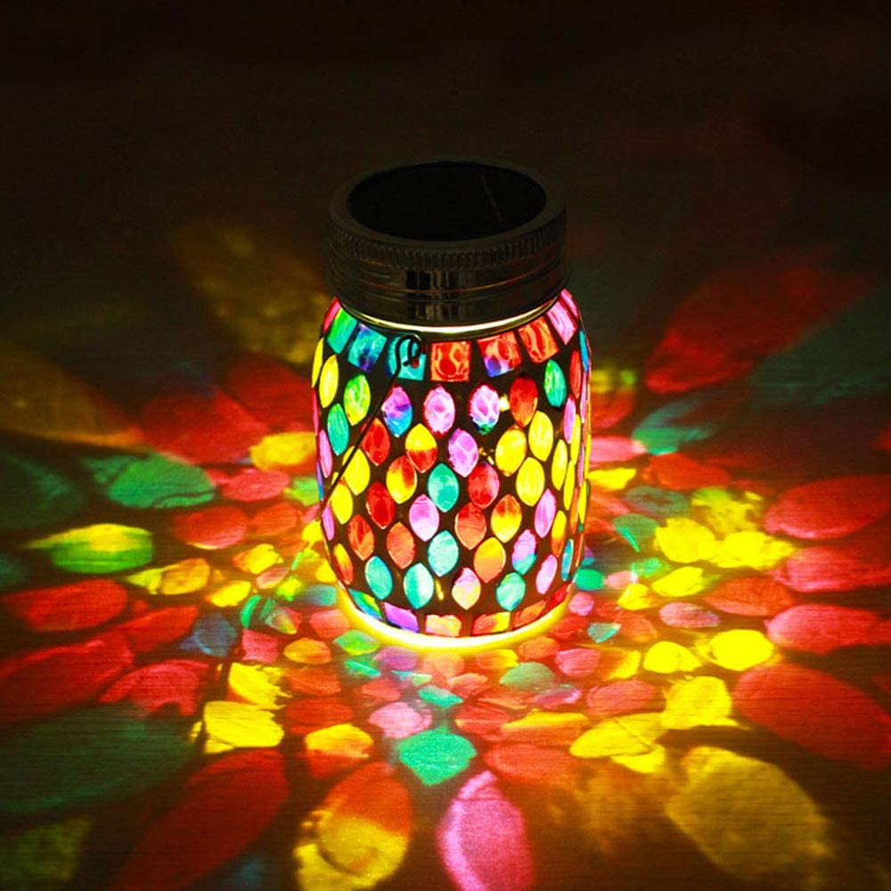 Color Changing Solar Powered Glass Mosaic Led Garden Lights, Rechargeable Solar Mason jar Lights, Outdoor Waterproof Solar Night Lights Table Lamps for Decorations
