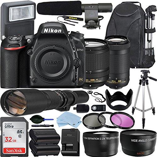 Nikon D750 DSLR Camera with AF-S DX NIKKOR 18-140mm + Nikon 70-300mm VR Zoom Lens + 500mm Preset Lens + 32GB SanDisk Memory Card + Deluxe Bundle
