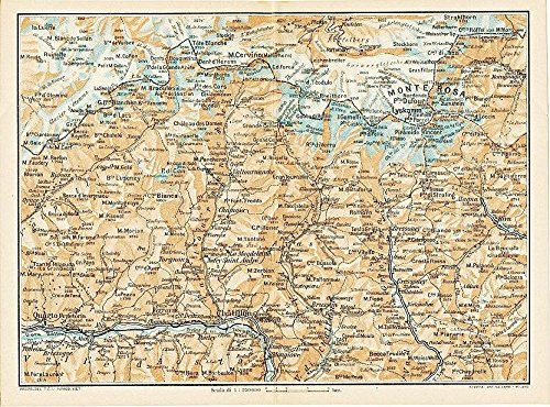 Monte Rosa to Chatillion Piedmont Italy 1930 color lithograph regional (1930 Lithograph)