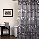 "Popular Bath Shower Curtain, Sinatra Collection, 70"" x 72"", Silver"