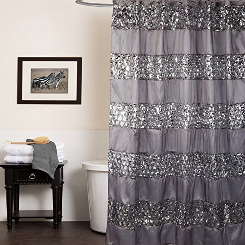 Popular Bath Shower Curtain, Sinatra Collection, 70' x 72', Silver