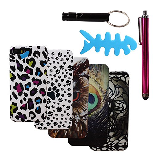 Teenitor(TM) iPhone 5S Case #08 Bulk Pack Of 5 Pcs Case Animal Leopard Design Hard Shield Cases Cover For iPhone 5 5S(Shipping From USA) With Stylu, Fishbone Earphone Cable (Fishbone Earphone)