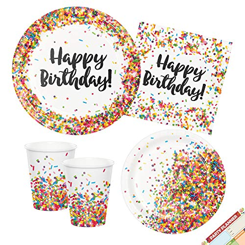 Sprinkles Happy Birthday Party Plates, Napkins, Cups| Party Supplies for Candy Confetti Theme | Serves 16 ()