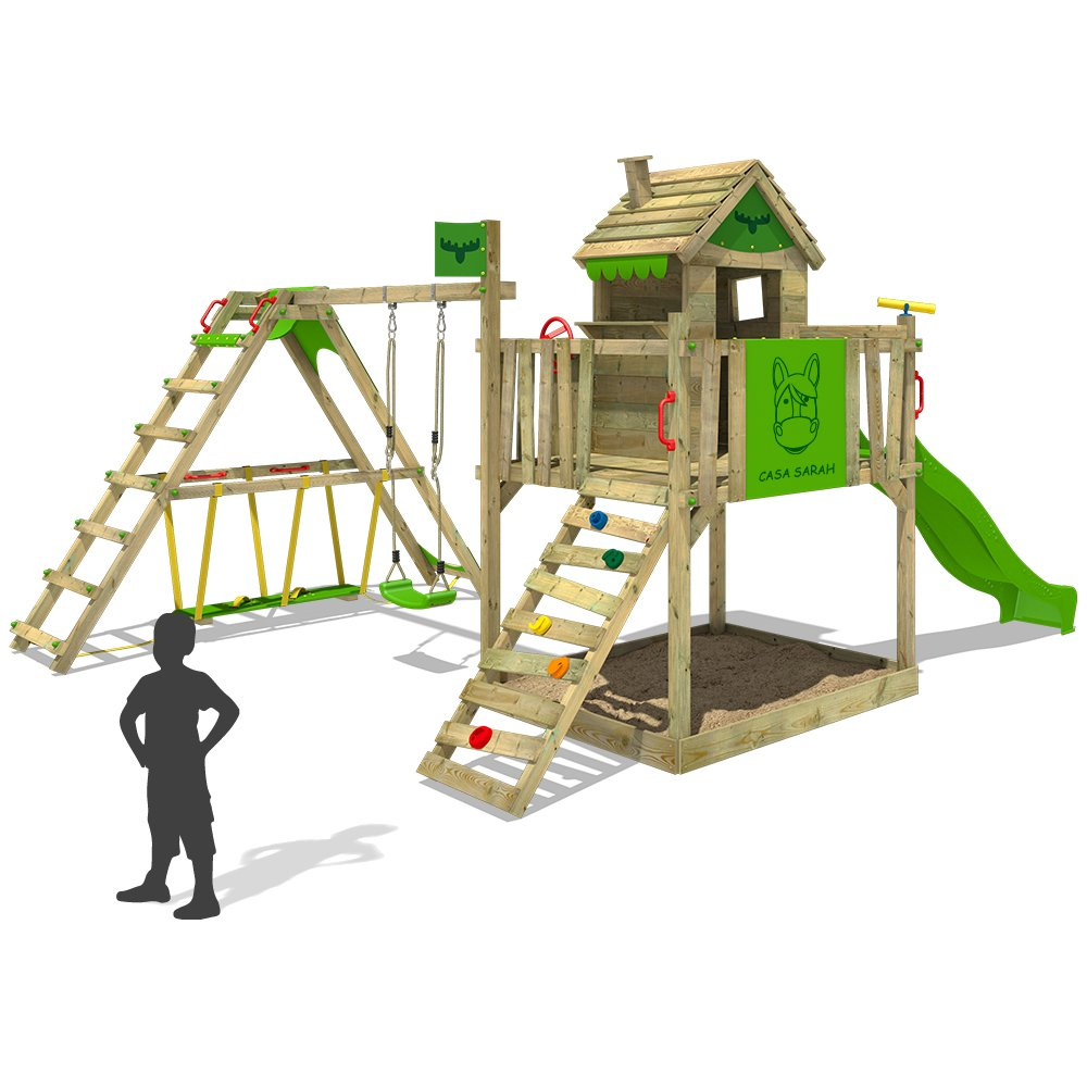 FATMOOSE Kinder-Kletterturm RockyRanch Roll XXL mit schwingendem Surfbrett Spielturm Spielhaus auf Podest mit Veranda Schaukel Rutsche Kletterleiter und großem Sandkasten