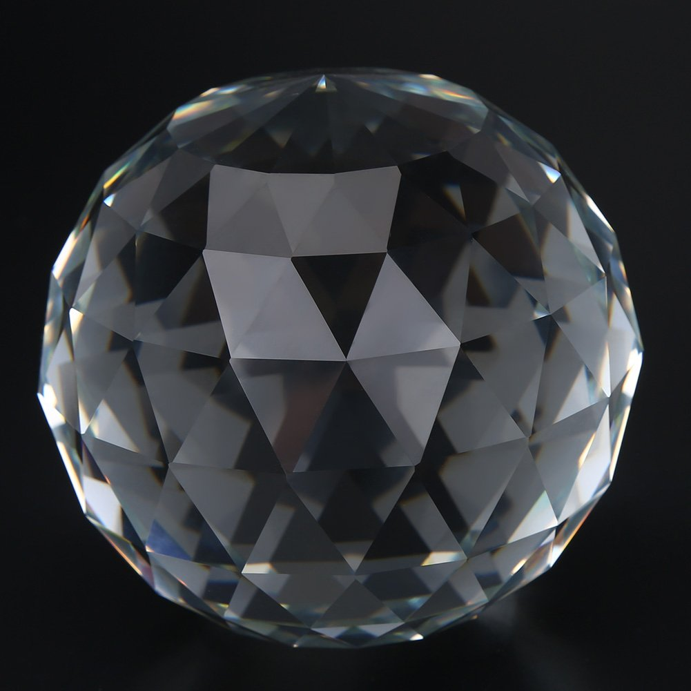 Clear Cut Crystal Glass Ball, 60/80mm Translucent Faceted Gazing Ball, Crystal Sphere Prisms Suncatcher Home Hotel Decor Hardware Fittings (80mm/3.15in)
