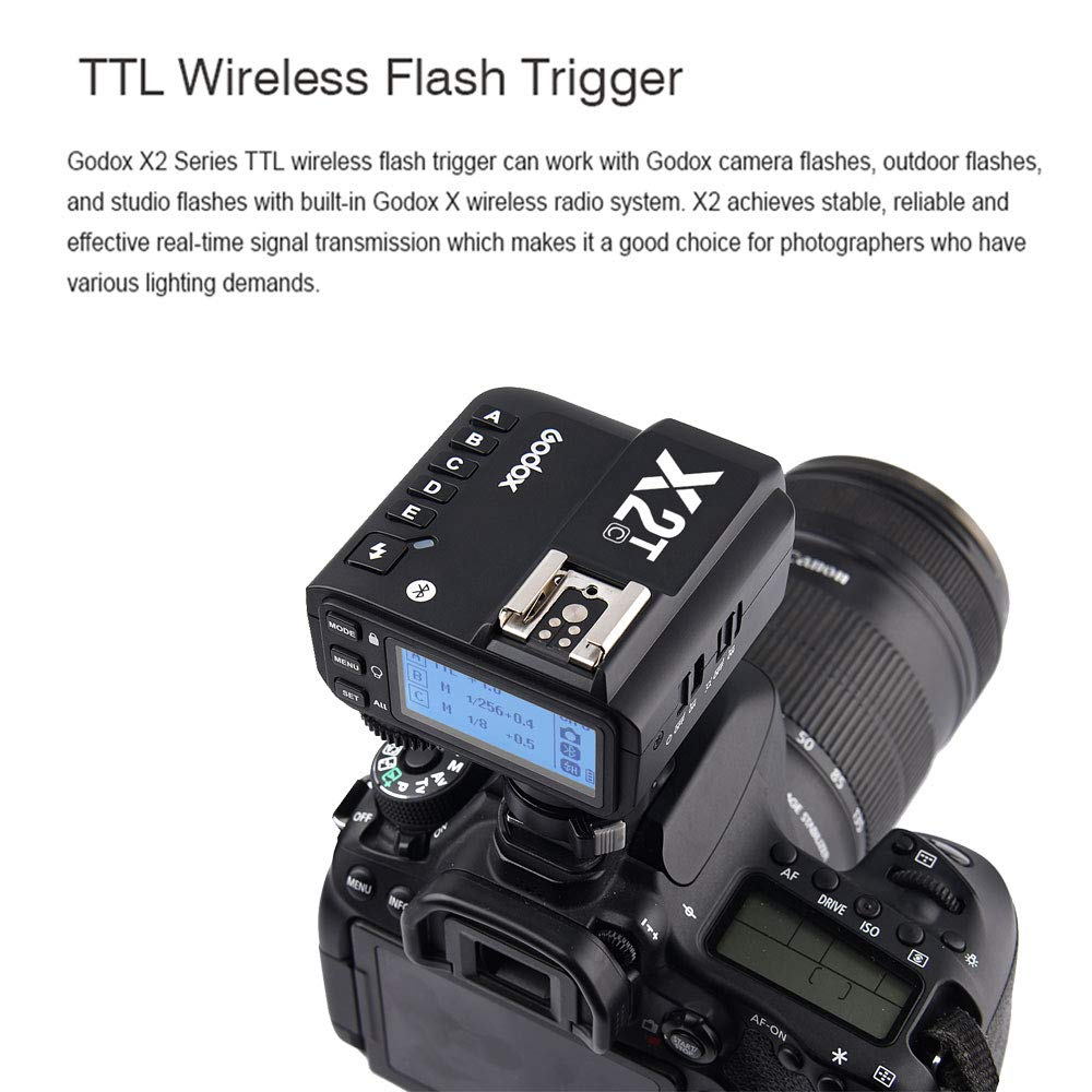 Godox X2T-C TTL Wireless Flash Trigger Transmitter for Canon Bluetooth Connection Supports iOS/Android App Contoller 1/8000s HSS TCM Function 5 Separate Group Buttons X1T Upgrade Version by Godox (Image #6)