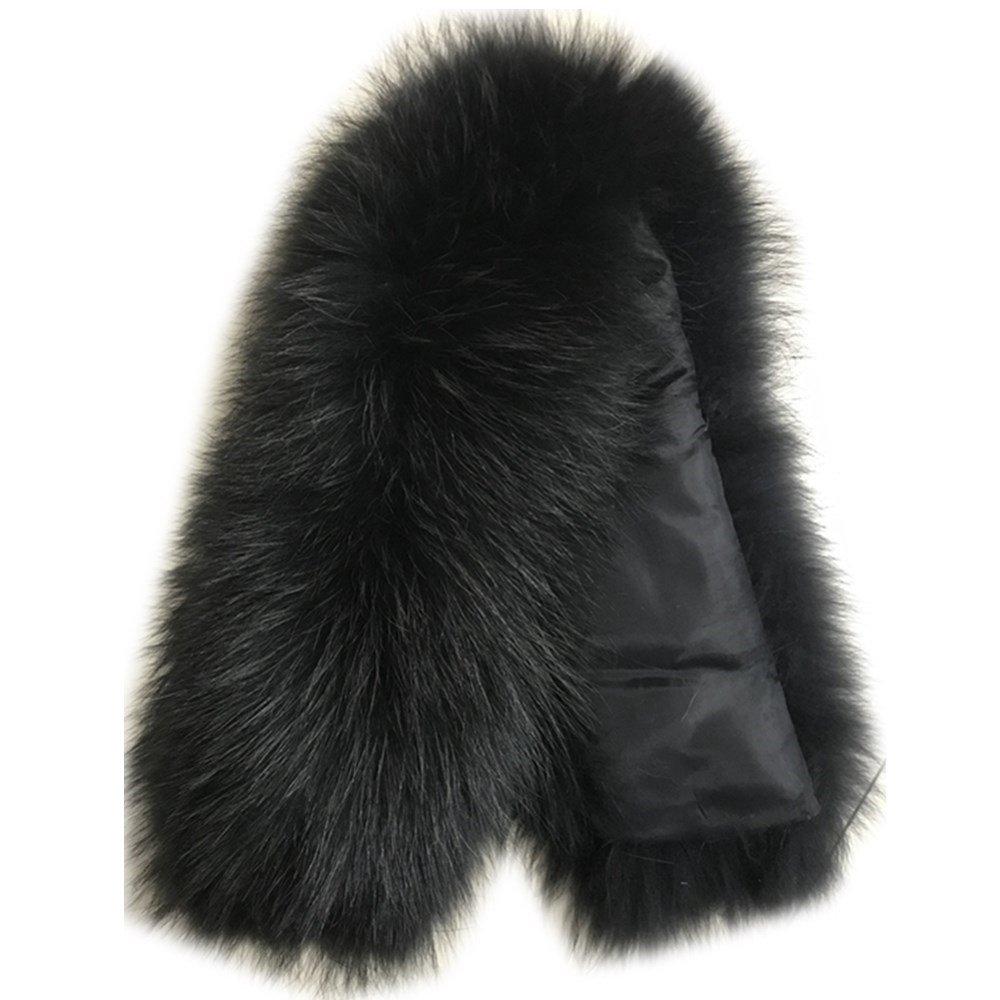 Black2 Extra Large Women's Raccoon Fur Collar for Winter Coat