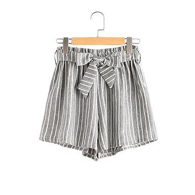 BeautyGO Femme Short en Rayures Verticales StripeTaille Élastique Short en  Jambe Large Été (S) de06a5d4a75