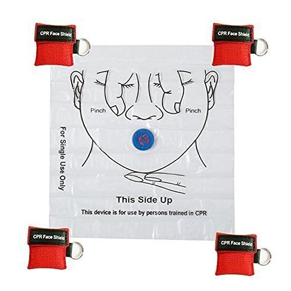 Azul KAIMENG CPR M/áscara Llavero Anillo Kit de Emergencia Rescue Face Shields con v/álvula de respiraci/ón de una v/ía para Primeros Auxilios o AED Training 5pcs
