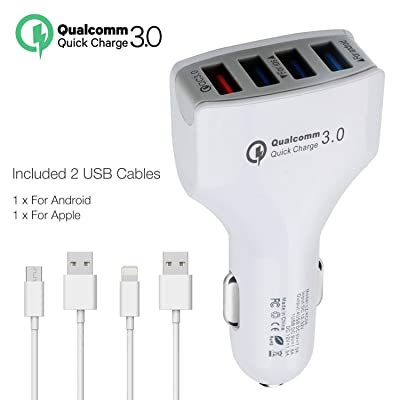 Faittoo Quick Charge 3.0 Car Charger 36W 4-Port Car Adapter, QC3.0 Compatible Galaxy S9 S8 S7 S6 Edge Note 8, iSmart Compatible iPhone Xs XR X 8 7 Plus, iPad Pro Air Mini and More(with 2 USB Cables) [5Bkhe0803924]